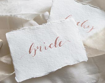 Modern Calligraphy Placecards, Rose Gold Calligraphy, Handmade Paper Placecards