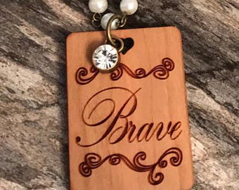 Brave Statement Necklace, Pendant Glass Pearl Necklace, Boho Style Jewelry, Laser Engraved Customized Necklace