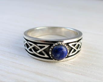 Celtic wedding ring lapis lazuli engagement ring sterling silver promise ring wedding band