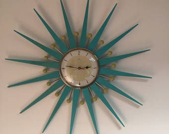 large 27 inch hand made mid century style starburst sunburst clock by royale clock style 52