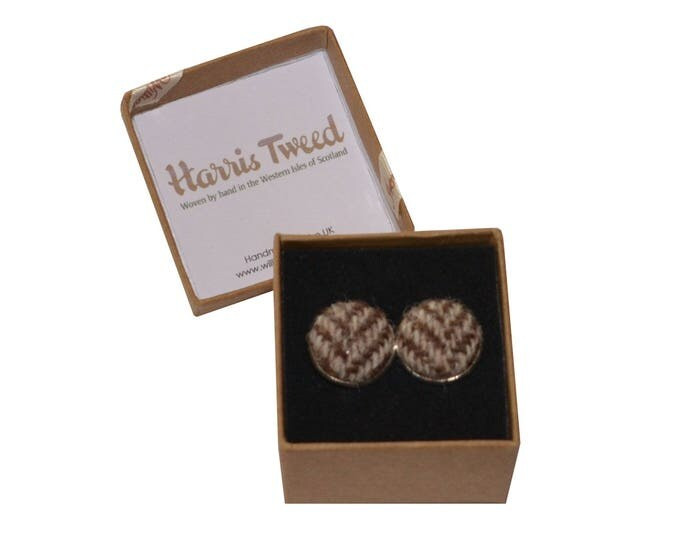 Harris Tweed Brown & Beige Herringbone Handmade Boxed Cufflinks