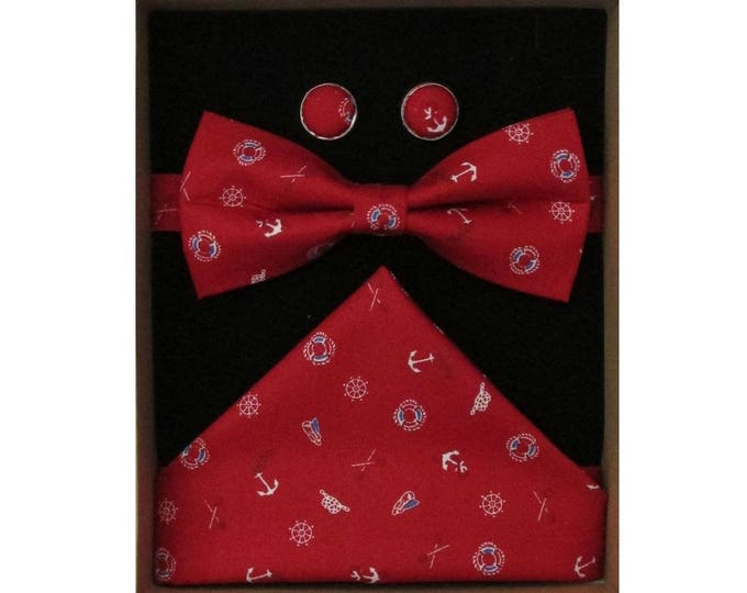 Yacht Club Bow Tie Cufflink and Handkerchief Boxed Gift Set