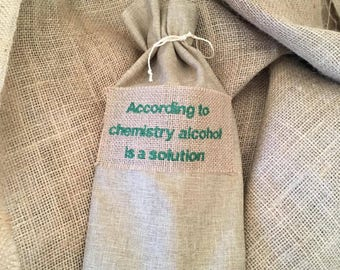 According to Chemistry alcohol is the solution bottle bag