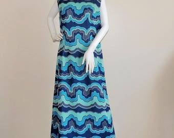Vtg 70's Trevira Dress, Psychedelic Dress, Blue Maxi Dress, Long Summer Dress, Novelty Chevron Dress, Sleeveless Blue Evening Dress