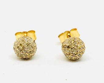 Pave Diamond ball stud earring set in sterling silver(92.5). 6mm ball. Natural authentic diamonds- .52 carat. Gold vermile.