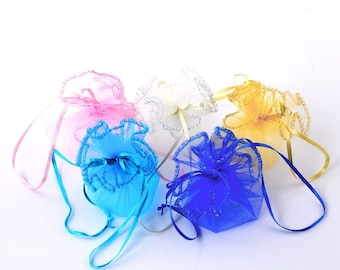 Turquoise Organza pouch/purse