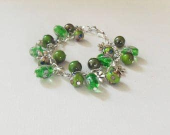 Bracelet charms with glass beads and charms