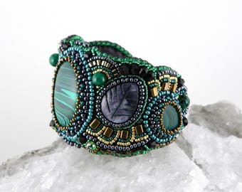 Bead embroidered cuff Beaded embroidery bracelet Women bracelet stone Everyday beaded bracelet Green bracelet cuff Bronze bracelet cuff