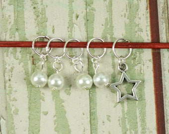 Knitting/Progress Marker Set of 5 White with Star Outline Charm