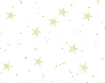 Lucky Stars Sarah Jane Magic collection from Riley Blake Designs fabric metallic gold star on white cotton fabric Magical Parade, gold star