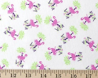 Pink Flamingo print knit fabric by the yard, cotton blend jersey knit fabric, flamingo printed t shirt knit, flamingo printed stretch knit