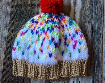 Child's Hand Knit Cupcake Hat - Vanilla with Sprinkles - Ready to Ship