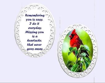 Oval Porcelain Doily Ornament -Cardinal