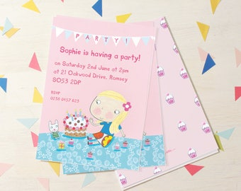 Personalised Girl's Birthday Invitations (choose the hair colour) -- Minimum order 8