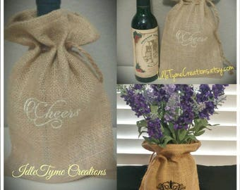 Personalized Burlap Bags, Monogrammed Burlap Decor, Embroidered Rustic Wedding Favor or Bridesmaid Gift Bags, Wine Tasting Party Bags.