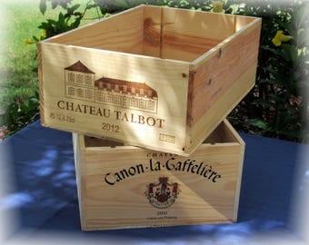 French Wine Crates, Chateau Talbot, Chateau Canon LA Gaffeliere, Wedding Decor, Gift Card Box, Wine Bar,Kitchen Decor, Wood Wine Crafts