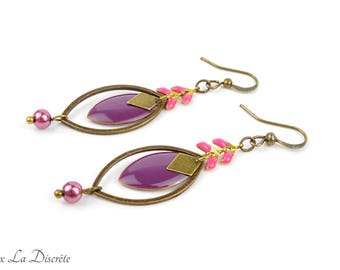 Bronze earrings with purple sequin and pink chain ears