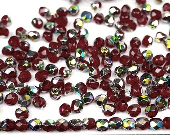 600 Siam Vitrail coated 4mm, Preciosa Czech Fire Polished Round Faceted Glass Beads, Czech Glass Fire Polish Beads, loose red beads