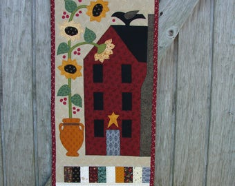 Country House Door Banner, country decor, primitive decor, skinny quilt, sunflower wall hanging, country house decor