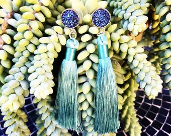 HYPOALLERGENIC EARRINGS Glam Druzy Duster Earrings - Tassel Earrings - Purple Mint Teel Silver