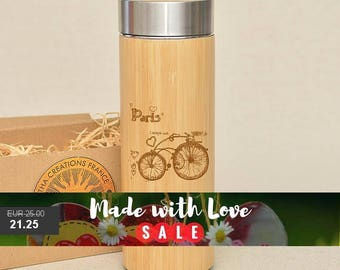 Original Bamboo Thermos Wooden Flask 380 ml Engraved Wood PARIS BICYCLE Stainless Steel with Screw Lid