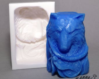 WOLF SOAP MOLD silicone mould soap bar   plaster clay wax resin native american