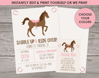 Pony Party Invitations - Edit and Download with Templett - Cowgirl Birthday Invitation - Horse Party Invitation for Girls - Birthday 143