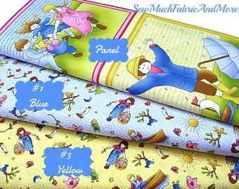 Sing A Song Children's Fabric~Panel and Coordinating Fabric~3 selections~Nursery Rhymes~Songs-P & B Textiles