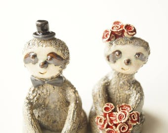 Sloth Cake Topper, Ceramic Sloth Couple, Miniature Sloth, Cake Topper by Her Moments