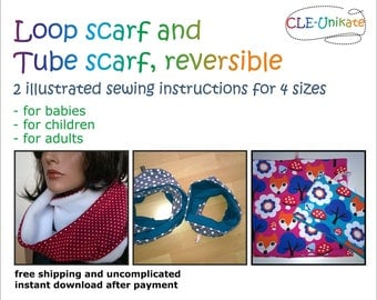 Loop scarf and tube scarf, reversible