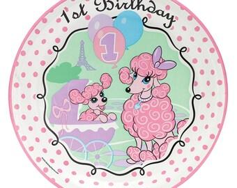 My Parisian Pink Poodle 1st birthday Dinner plates/ Paris theme/ Paris/ Poodle /Poodle in Paris / Paris Birthday / 1st birthday/1st