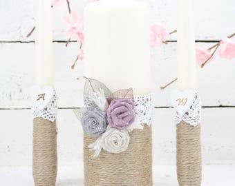 Rustic Unity Candle Set, Wedding Ceremony Candle Set, Unity Candle Set,Wedding Centrepieces