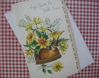 Vintage Greeting Card, Get Well Card, Unused, Sunshine Card, Yellow Daisies in Copper Water Can, Glittered, Scalloped Edge - 1950's