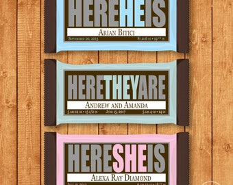 Customized Birth Announcement Candy Bar Wrapper for Hershey Bars - You Print