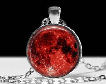 Red Moon pendant, Gothic jewelry, Wiccan, Pagan Moon #476
