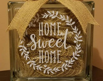 Home Sweet Home Lighted Glass Block