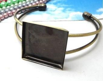 x 1 Bracelet (SJ076) 25mm square Cabochon Bronze backing
