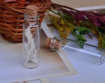 SET of 5 glass jars + CORK (12x40x6mm) (PZ018)