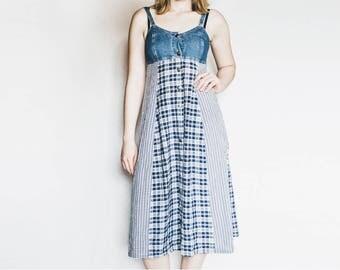 Denim Maxi Dress, Vintage Maxi Dress, Blue Vintage Dress, Plaid Blue Dress, Long Plaid Dress, Checkered Dress, Sleeveless Dress, Summer