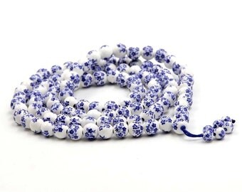 8mm Tibet Buddhist Blue Flower Porcelain 108 Mala Beads