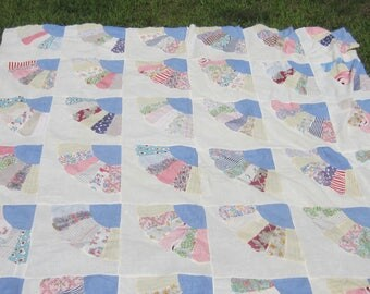 Serene and Beautiful Blue, Multicolor + White Fan Quilt Top 74""