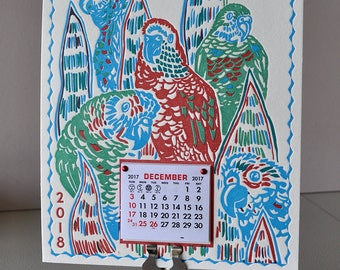 Tropical parrots Art Wall Calendar for 2018 Handmade Letterpress; A gift for the bird lover! Frolicking in the foliage all year long!