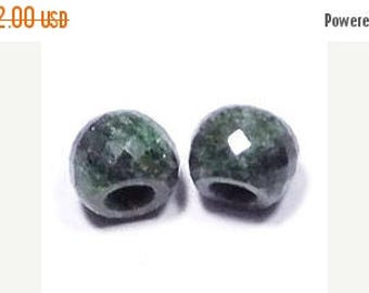 70% OFF Natural Green Jasper Handmade Faceted Round Loose Beads Pair-8x11mm With 5mm Hole-Free Shipping