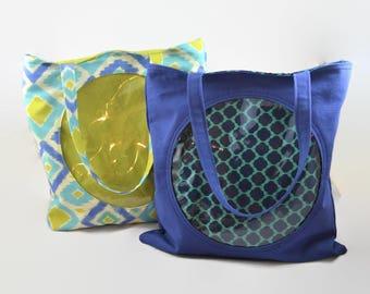 Ita Bag - Circle Clear Pocket Ita Bag - Blue Ita Bag - Green Ita Bag - Canvas Clear Pocket Tote Bag - Anime Bag, Otaku Gift, Anime Gift
