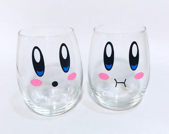 Set of 2 stemless wine glasses with Kirby faces nintendo wine glasses video game gifts geeky gifts gifts for nerds. kirby face glass. drink