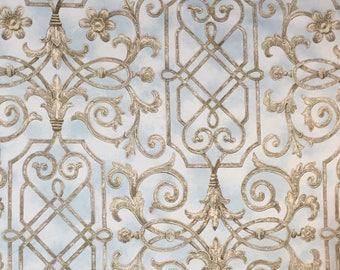 Light Blue - Taupe Elegant Print - Upholstery Fabric by The Yard