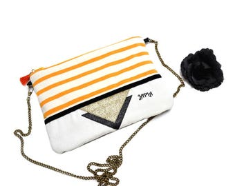retro ecru yellow striped shoulder bag black and gold glitter