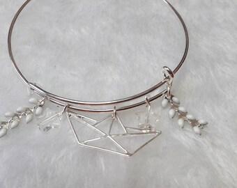 White origami boat silver bracelet