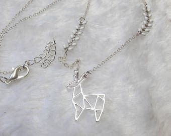 Silver Chamois white origami necklace