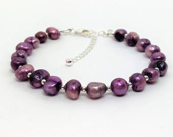 Purple Pearl Sterling Silver Bracelet Mauve Pearl Bracelet Adjustable Freshwater Pearl Bracelet Genuine Pearl Jewellery Beaded Bracelet